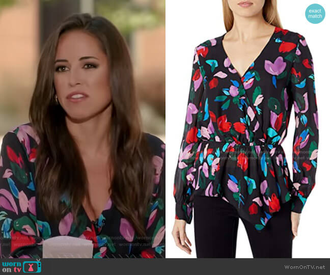 Alyssa Floral Peplum Blouse by Parker worn by Kaylee Hartung on GMA