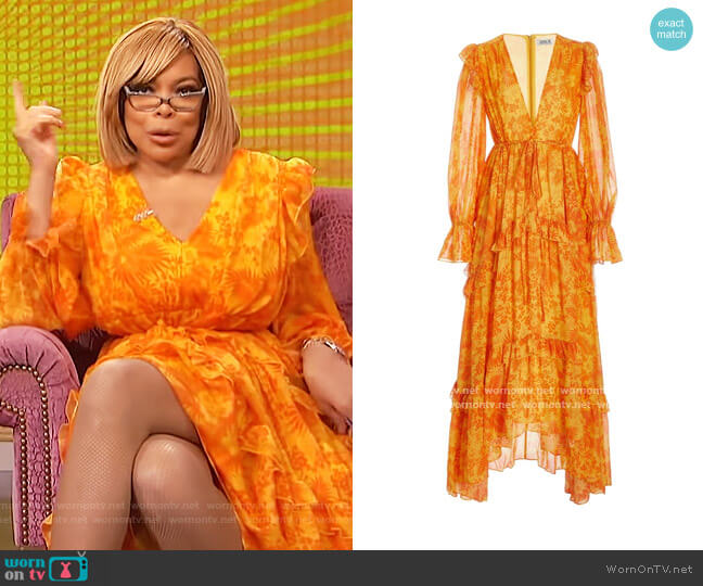 Ruffle Chiffon Long Sleeve Gown by Amur worn by Wendy Williams  on The Wendy Williams Show