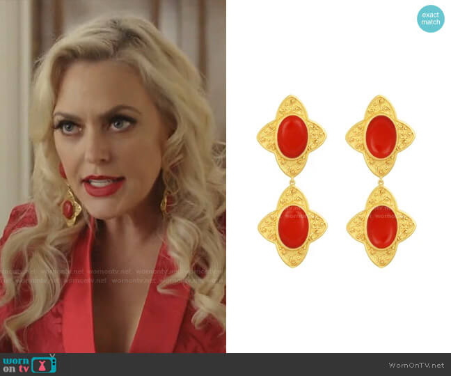 Carolina Earrings in Coral by Angelina Alvarez worn by Alexis Carrington (Elaine Hendrix) on Dynasty
