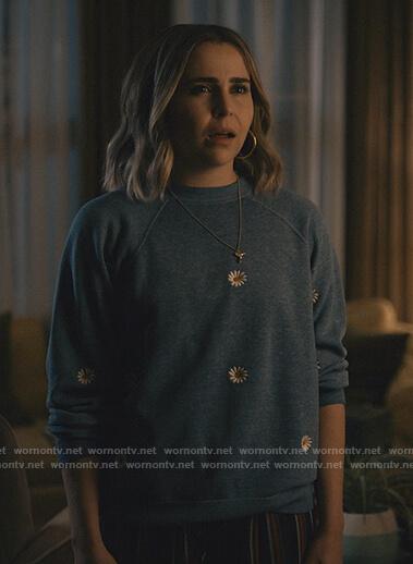 Annie's gray floral embroidered sweatshirt on Good Girls