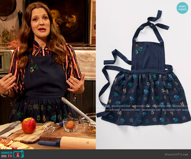 Stacia Embroidered Indigo Apron by Anthropologie worn by Drew Barrymore  on The Drew Barrymore Show