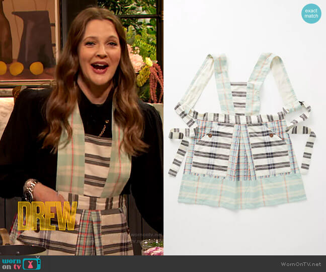 Kelby Mixed Plaid Apron by Anthropologie worn by Drew Barrymore  on The Drew Barrymore Show