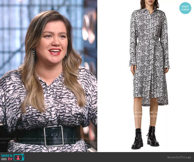 Anya Printed Shirtdress by All Saints worn by Kelly Clarkson  on The Voice
