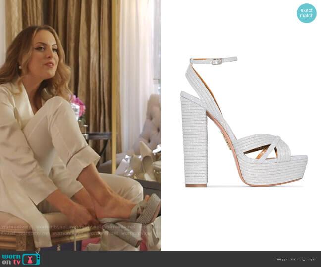 Sundance Platform Sandals by Aquazzura worn by Fallon Carrington (Elizabeth Gillies) on Dynasty