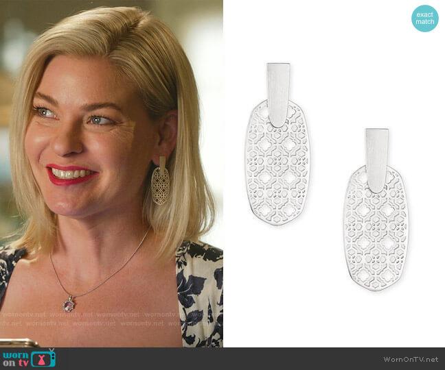Aragon Filigree Earrings by Kendra Scott worn by Stephanie Borden (Kylee Evans) on Good Witch
