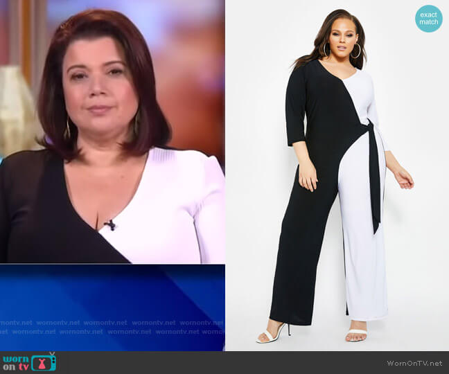 Colorblock Wrap Jumpsuit by Ashley Stewart worn by Ana Navarro  on The View