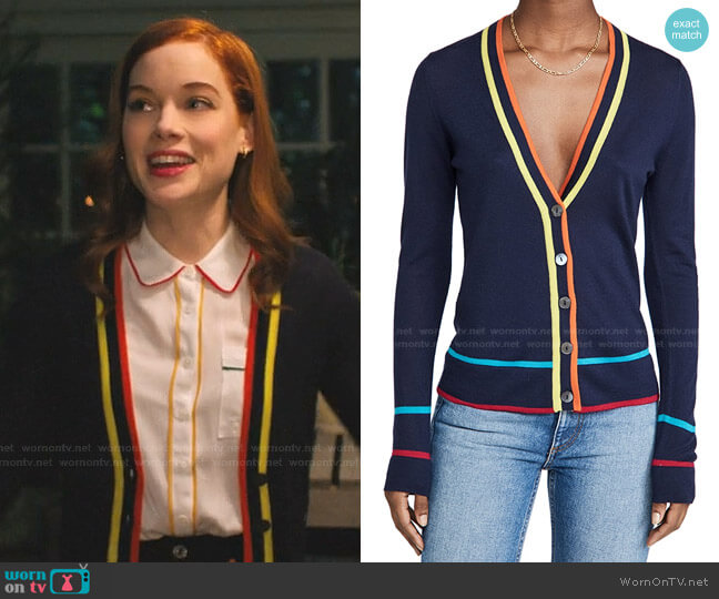 Multi Color Banded V Neck Cashmere Cardigan by Autumn Cashmere worn by Zoey Clarke (Jane Levy) on Zoeys Extraordinary Playlist