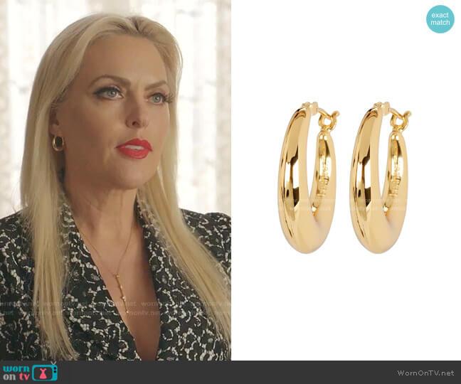 Gold Puffy Hoop Earrings Bonheur worn by Alexis Carrington (Elaine Hendrix) on Dynasty