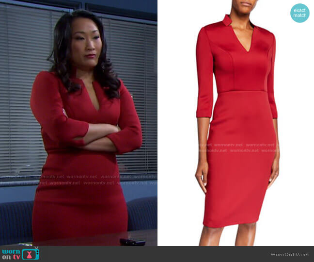 V-Neck 3/4-Sleeve Solid Scuba Dress by Badgley Mischka worn by Melinda Trask (Tina Huang) on Days of our Lives