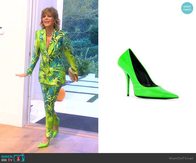 Square Knife Pumps by Balenciaga worn by Lisa Rinna  on The Real Housewives of Beverly Hills