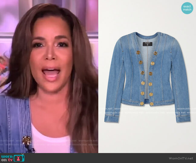 Button-embellished denim jacket by Balmain worn by Sunny Hostin  on The View