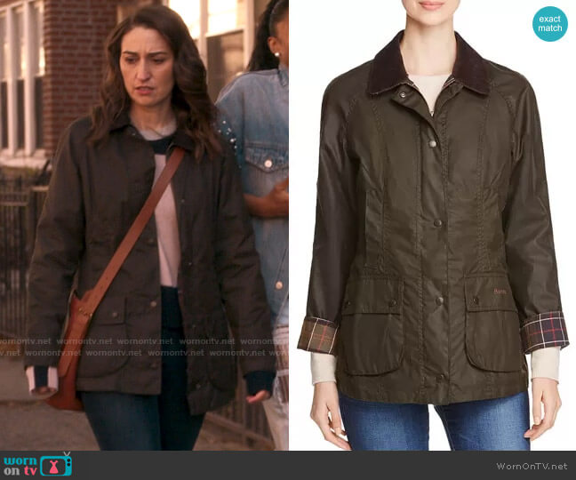 Barbour Classic Beadnell Waxed Cotton Jacket  worn by Dawn Solano (Sara Bareilles) on Girls5eva