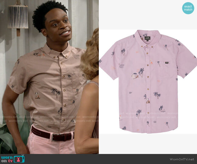 Billabong Sundays Shirt in Pink Haze worn by Lane (Austin Crute) on Call Your Mother