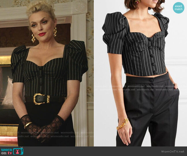 Pinstriped Top by Dolce & Gabbana worn by Alexis Carrington (Elaine Hendrix) on Dynasty