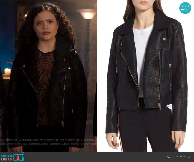 Blank NYC Meant to Be Moto Jacket with Removable Hood worn by Maggie Vera (Sarah Jeffery) on Charmed