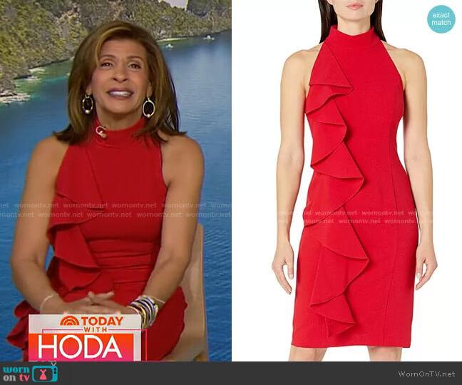 Bodycon Halter Dress with Ruffle Detail by Eliza J worn by Hoda Kotb  on Today