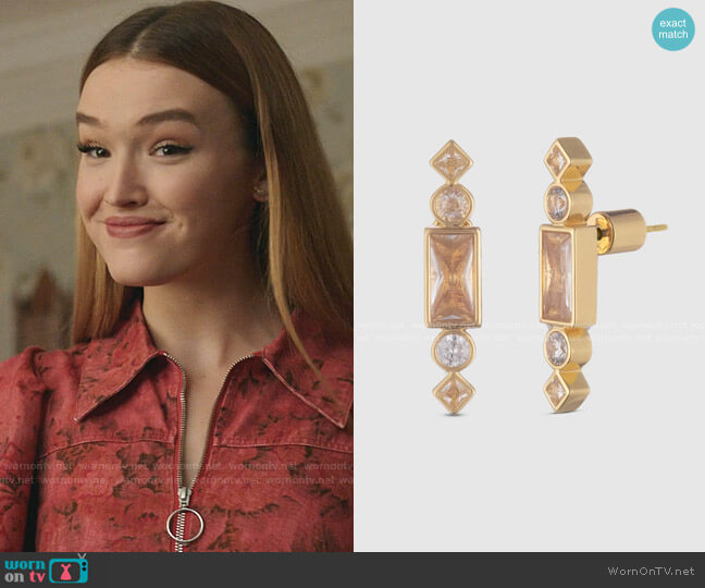 Cherie Gold Stone Stud Earrings by Bonheur Jewelry worn by Kirby Anders (Maddison Brown) on Dynasty