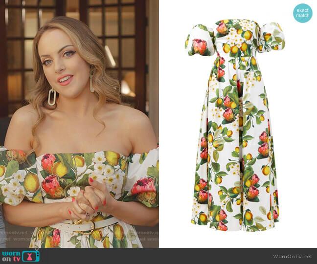 Juliet Off Shoulder Puff Sleeve Dress by Borgo de Nor worn by Fallon Carrington (Elizabeth Gillies) on Dynasty