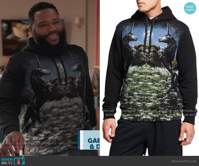 Unicorn Field Terry Pullover Hoodie by Burberry worn by Andre Johnson (Anthony Anderson) on Blackish