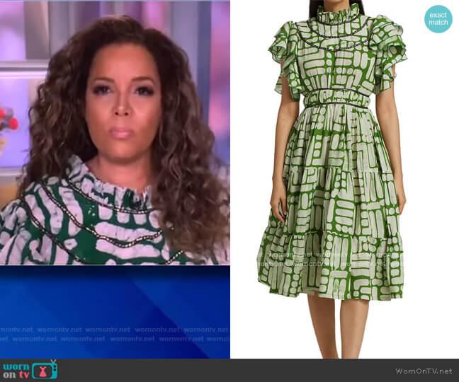 Adun Ruffled Highenck Beaded Dress by Busayo worn by Sunny Hostin  on The View
