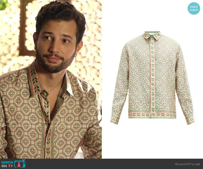 Laurel-Print Silk-Twill Shirt by Casablanca worn by Sam Flores (Rafael de la Fuente) on Dynasty