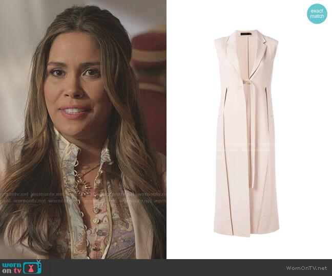 Long Neutral Waistcoat by Calvin Klein 205W39NYC worn by Cristal Jennings (Daniella Alonso) on Dynasty
