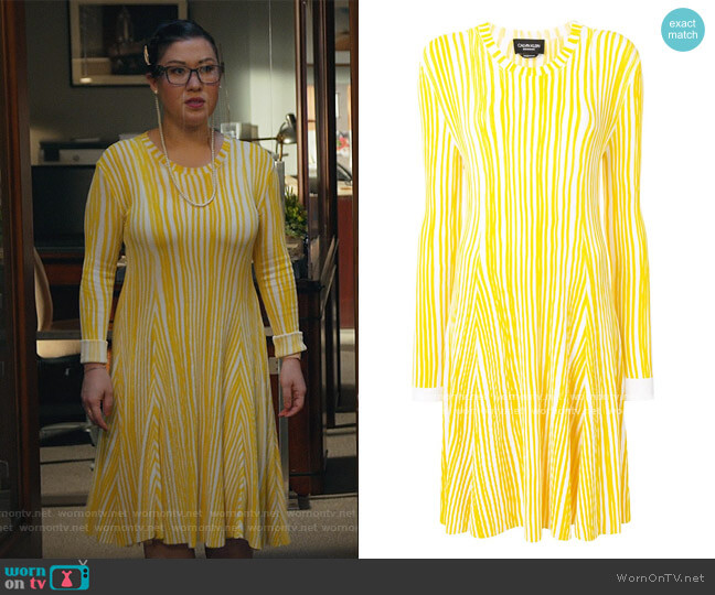 Stripe Knit Dress by Calvin Klein worn by Sherri Kansky (Ruthie Ann Miles) on All Rise