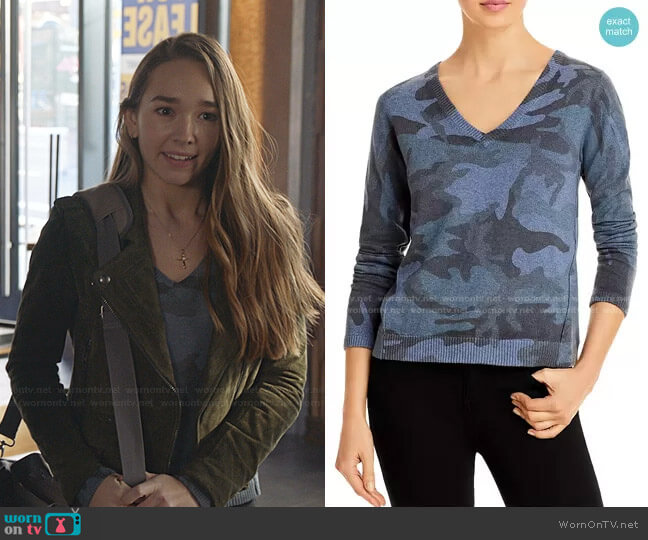 Camouflage Sweater by ATM Anthony Thomas Melillo worn by Angelina Meyer (Holly Taylor ) on Manifest