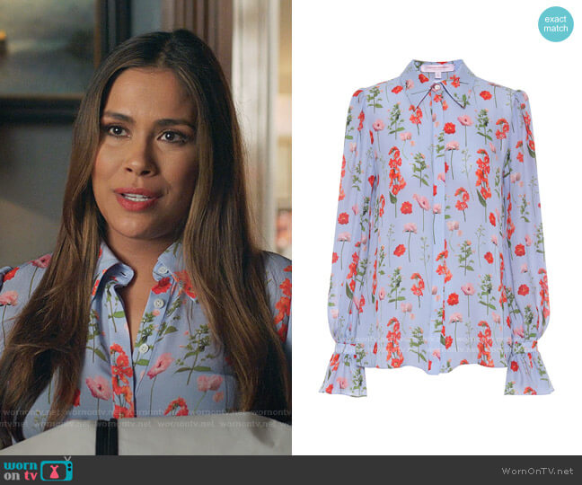 Floral Silk Blouse by Carolina Herrera worn by Cristal Jennings (Daniella Alonso) on Dynasty