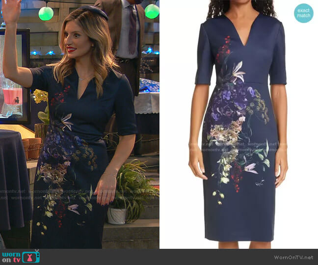 Carvir Floral Sheath Dress by Ted Baker worn by Chelsea Grayson (Anneliese van der Pol) on Ravens Home