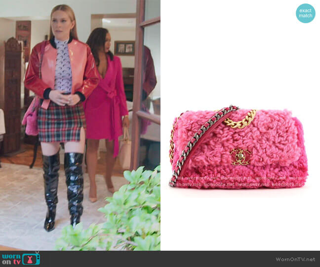9 Flap Bag Shearling Medium by Chanel worn by Leah McSweeney  on The Real Housewives of New York City