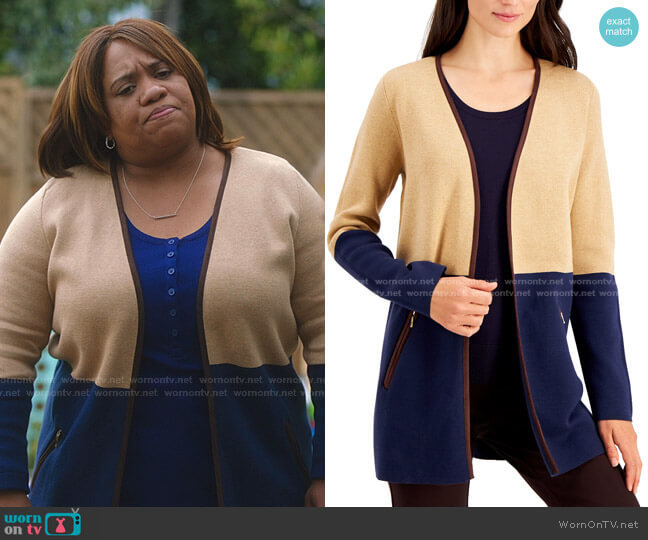 Milano Cotton Colorblocked Open-Front Cardigan by Charter Club worn by Chandra Wilson on Greys Anatomy