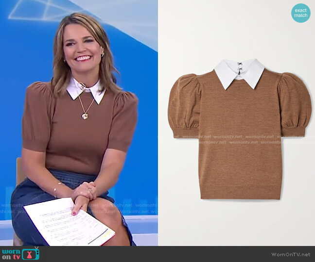 Chase Poplin-Trimmed Sweater by Alice + Olivia worn by Savannah Guthrie  on Today