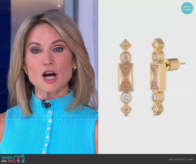 Cherie Gold Stone Stud Earrings by Bonheur Jewelry worn by Amy Robach  on Good Morning America