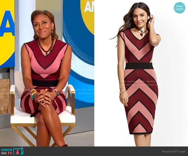Chevron-Stripe Sheath Sweater Dress by New York & Company worn by Robin Roberts  on Good Morning America