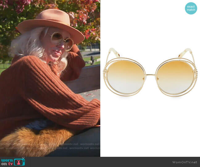 Carlina Chain 58MM Round Sunglasses by Chloe worn by Margaret Josephs  on The Real Housewives of New Jersey