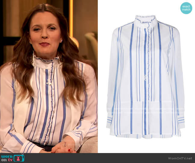 Striped Ruffle Trim Blouse by Chloe worn by Drew Barrymore  on The Drew Barrymore Show