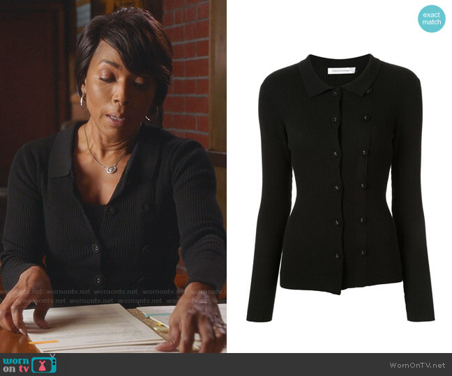 Double Button Cardigan by Christopher Esber worn by Athena Grant (Angela Bassett) on 9-1-1