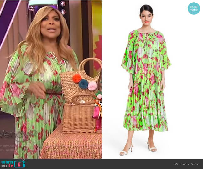 Floral Pleated Dress by Christopher John Rogers for Target worn by Wendy Williams  on The Wendy Williams Show