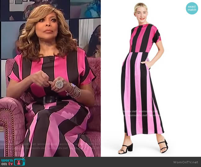 Mixed Stripe Short Sleeve Dress by Christopher John Rogers for Target worn by Wendy Williams  on The Wendy Williams Show