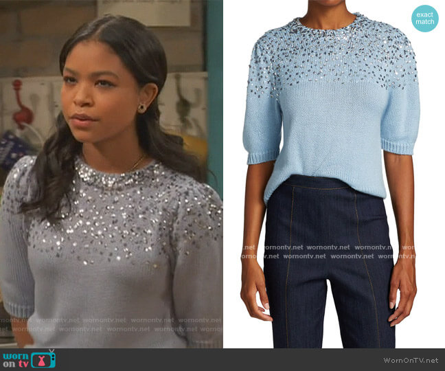 Lisa Embellished Wool-Blend Short Puff-Sleeve Sweater by Cinq a Sept worn by Nia Baxter (Navia Robinson) on Ravens Home
