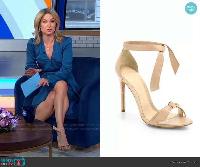 Clarita Bow Leather Sandals by Alexandre Birman worn by Amy Robach  on Good Morning America