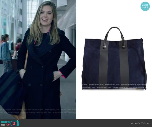 Simple Stripe Leather Tote by Clare V worn by Sutton (Meghann Fahy) on The Bold Type