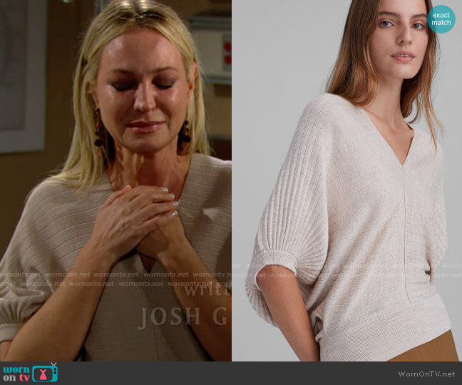 Club Monaco Quarter Sleeve V-Neck Sweater worn by Sharon Collins (Sharon Case) on The Young & the Restless