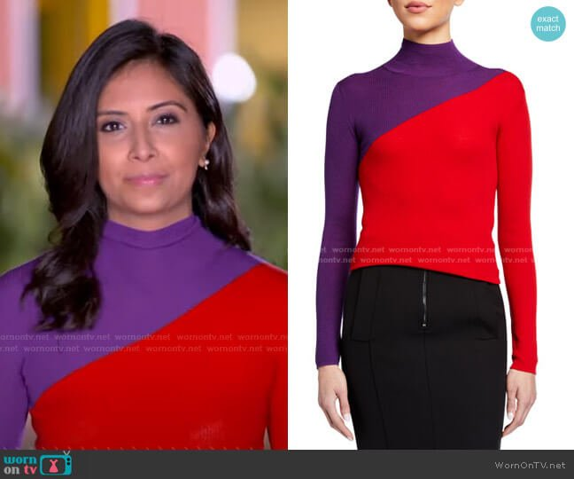 Colorblock Rib-Knit Turtleneck Sweater by Emporio Armani worn by Zohreen Shah on GMA