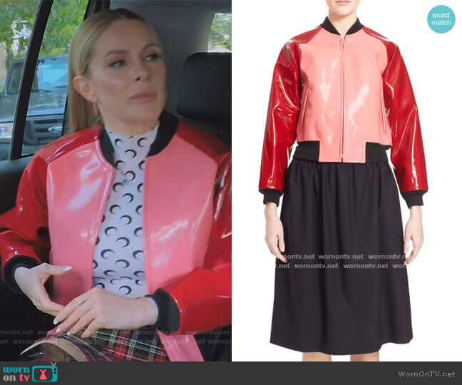 Enamel Faux Leather Bomber Jacket by Comme Des Garcons worn by Leah McSweeney  on The Real Housewives of New York City