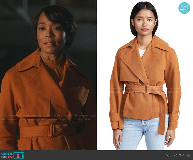 Cropped Belted Jacket by Vince worn by Athena Grant (Angela Bassett) on 9-1-1