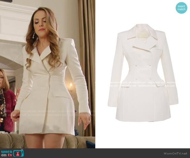 Double Breasted Silk Faille Jacket Dress by Danielle Frankel worn by Fallon Carrington (Elizabeth Gillies) on Dynasty
