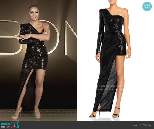Ruched Asymmetric Sequinned Gown by David Koma worn by Eboni K. Williams (Ebony K. Williams) on The Real Housewives of New York City