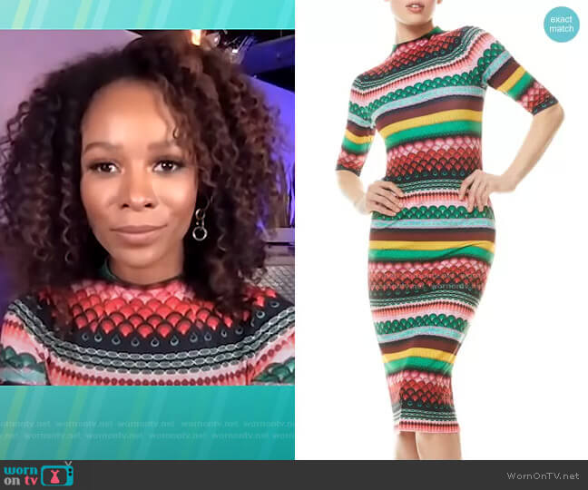 Delora Dress in Boho Geo by Alice + Olivia worn by Zuri Hall  on Access Hollywood